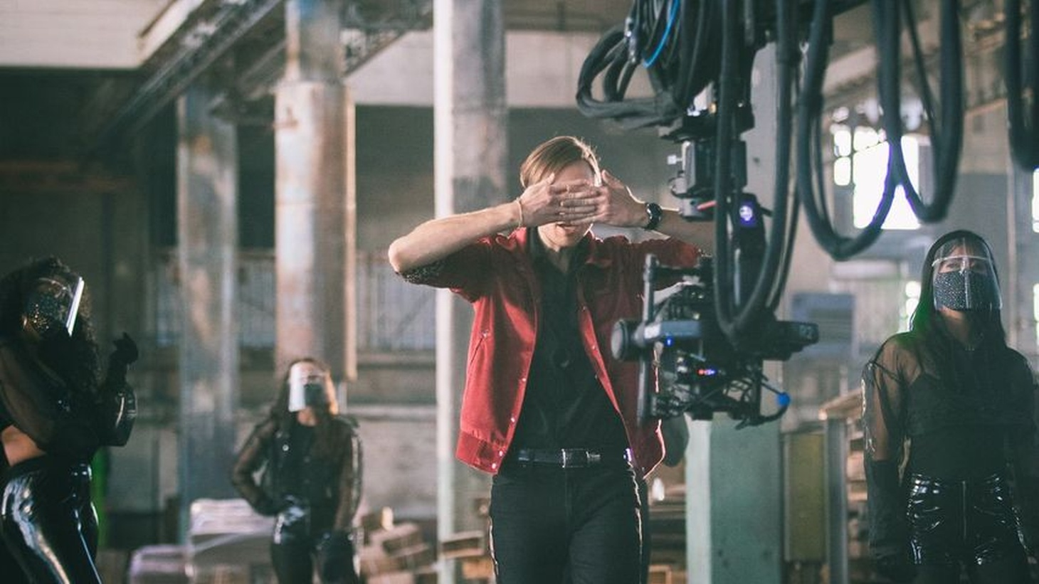 """Behind the scenes of the Saint Motel music video for """"Preach."""" PPE was incorporated into the shoot."""