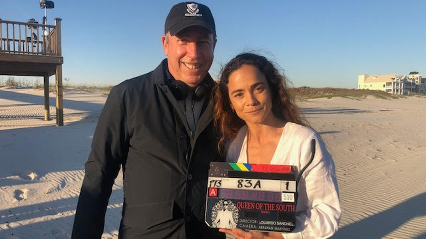 """""""Queen of the South"""" producer David Friendly and star Alice Braga on the set of the USA series."""