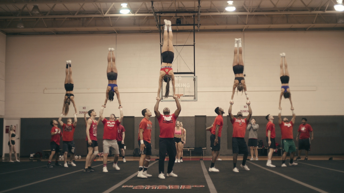 """Navarro College cheerleaders practicing in the documentary series """"Cheer,"""" which is up for six Emmys this year."""