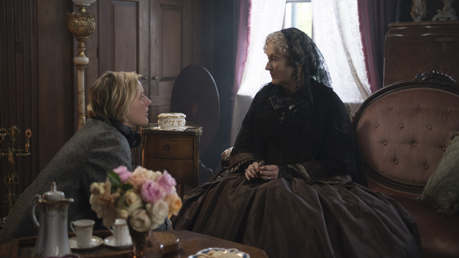Director/Writer Greta Gerwig and Meryl Streep on the set of Columbia Pictures' Little Women.