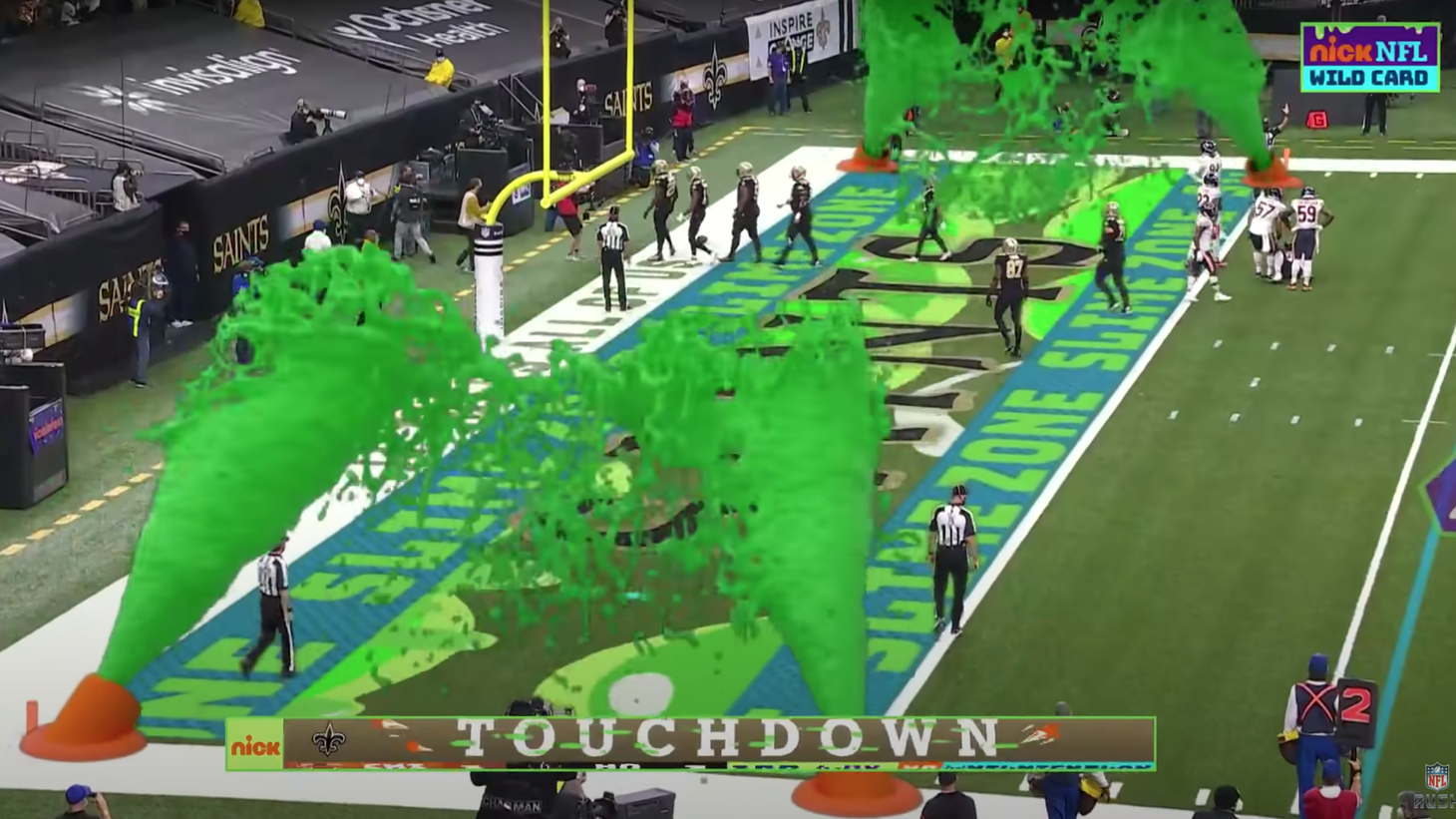 When Nickelodeon put its spin on an NFL game, the end zone became the slime zone.