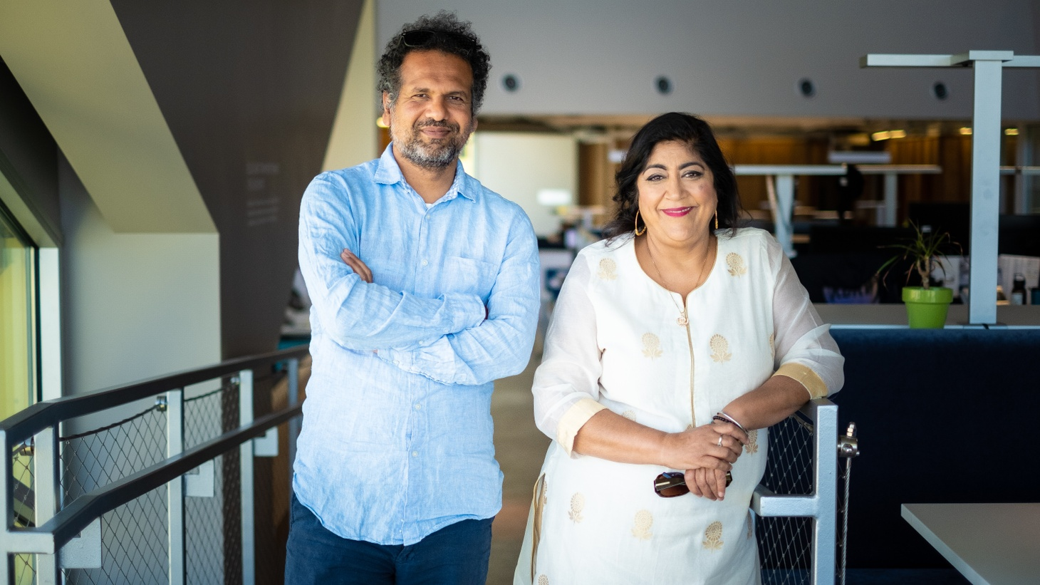 Journalist Sarfraz Manzoor and filmmaker Gurinder Chadha at KCRW.