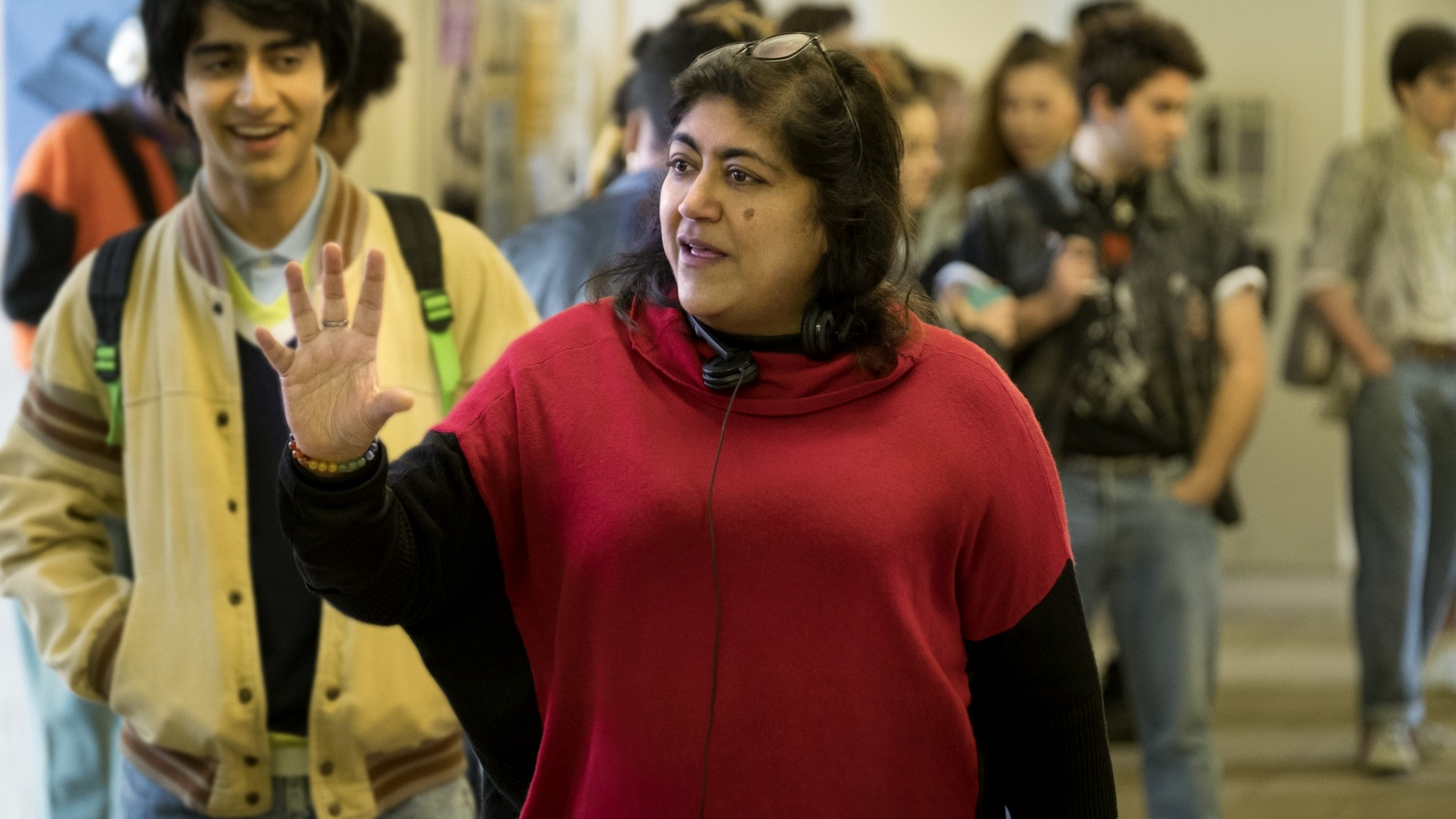 Viveik Kalra and director Gurinder Chadha on the set of 'Blinded by the Light,' a Warner Bros. Pictures release.