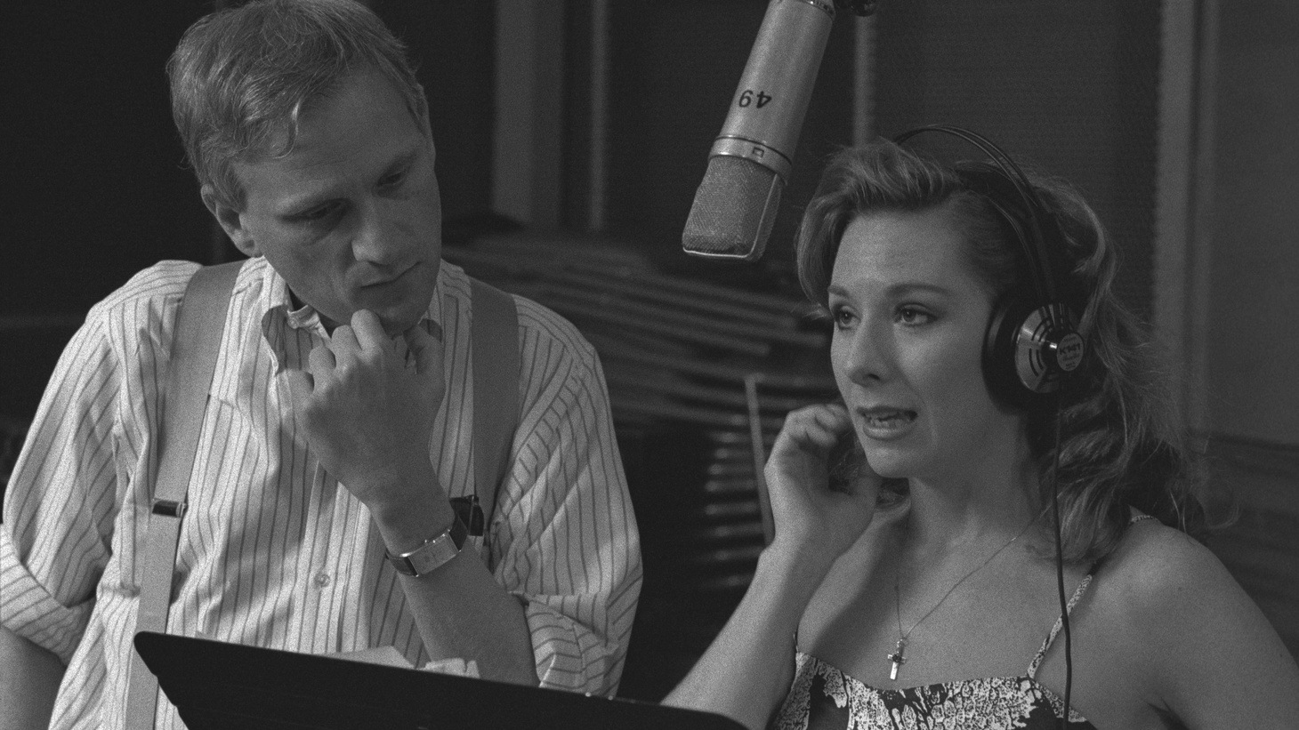 """Howard Ashman and Paige O'Hara during the recording of the """"Beauty and the Beast"""" soundtrack."""