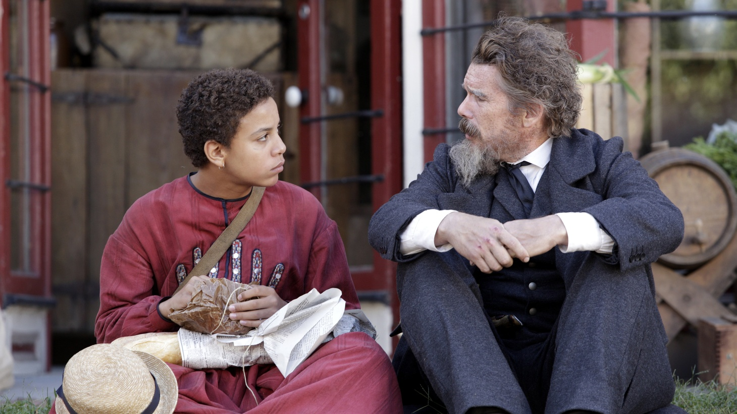 """In """"The Good Lord Bird,"""" Ethan Hawke (right) plays abolitionist John Brown, who frees a young boy named Onion (Joshua Caleb Johnson, left) from slavery."""