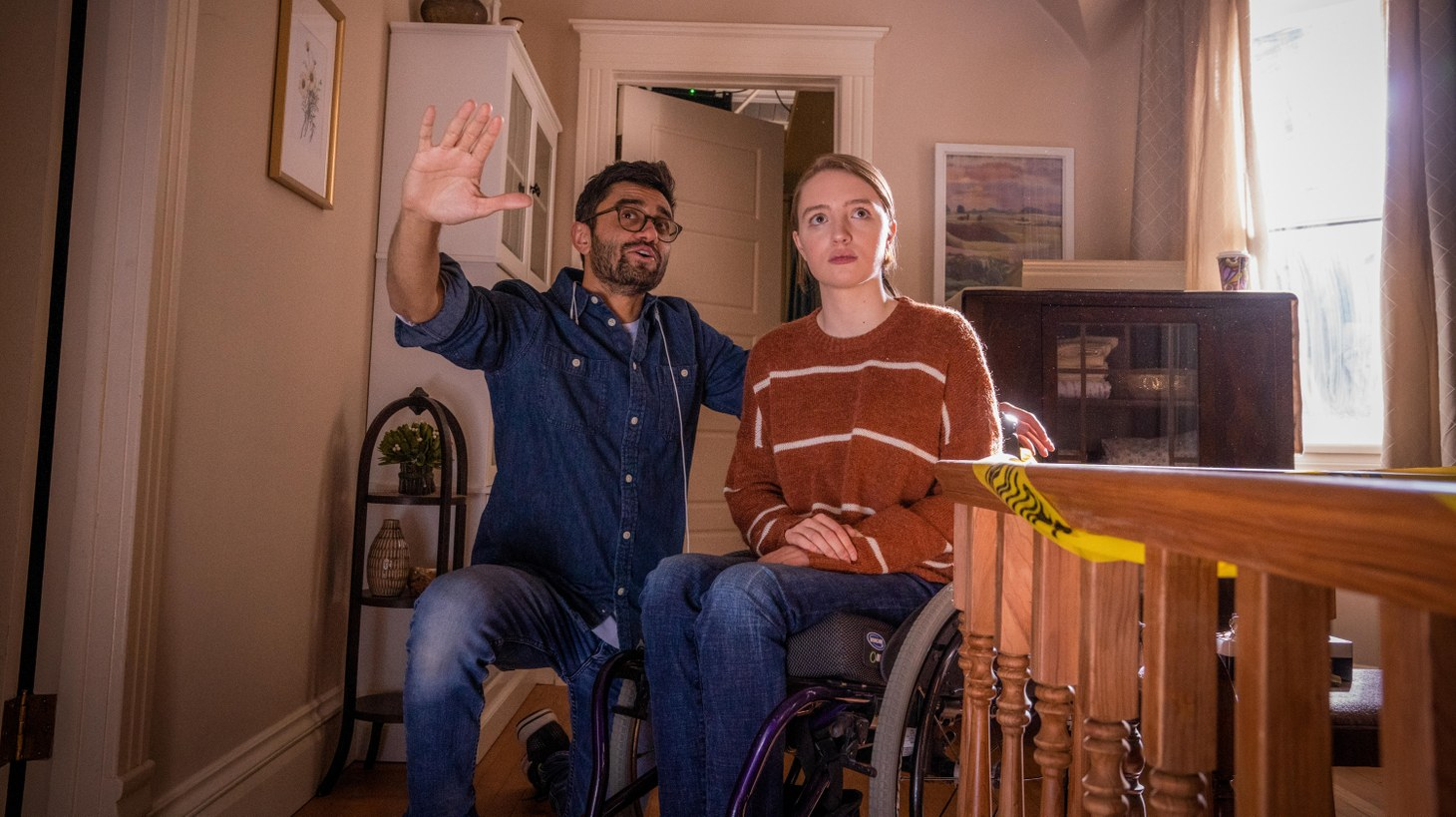 """Director Aneesh Chaganty and Kiera Allen, who plays Chloe, on the set of """"Run."""" """"Run"""" is the first American thriller to star an actor who uses a wheelchair since the 1940s."""