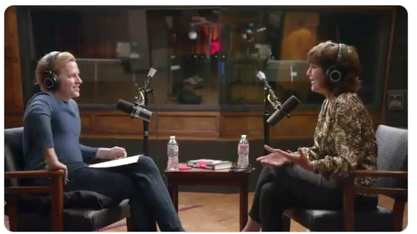 """Ronan Farrow and Kim Masters recording Episode 5 of """"The Catch and Kill Podcast"""""""