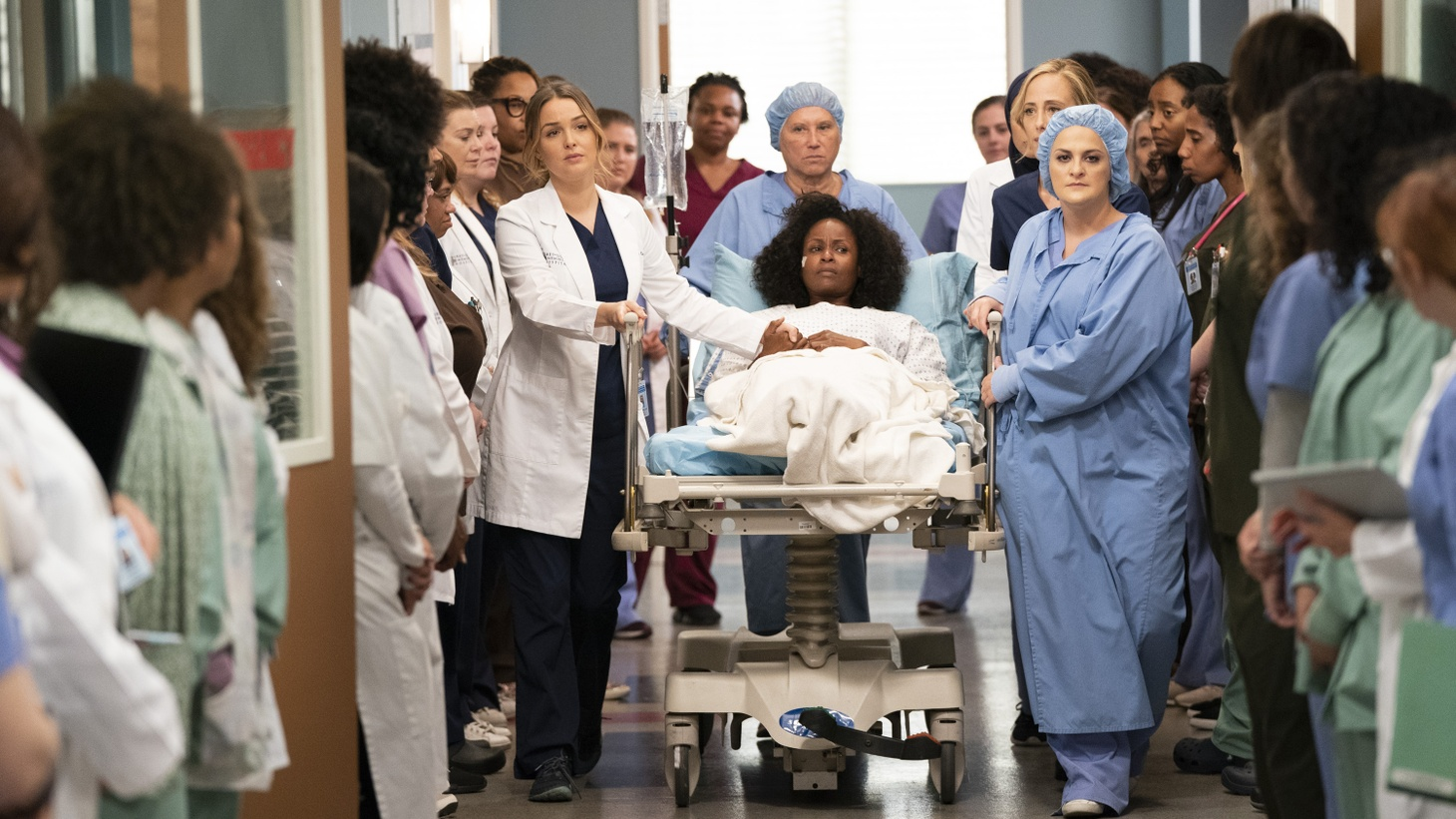 Grey's Anatomy episode 'Silent All These Years.' Writer Elisabeth Finch, on right.