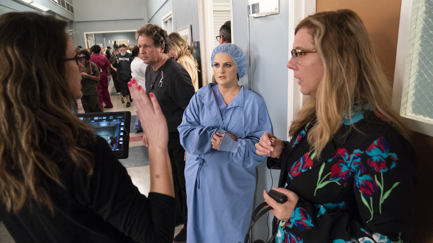 Grey's Anatomy writer Elisabeth Finch and showrunner Krista Vernoff, on the set of 'Silent All These Years.'
