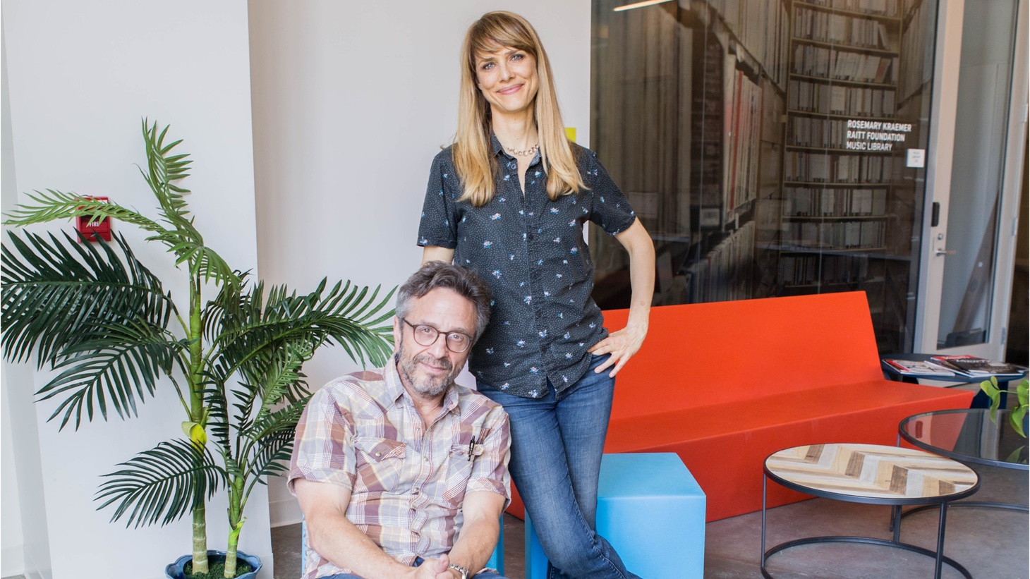Lynn Shelton and Marc Maron at KCRW.