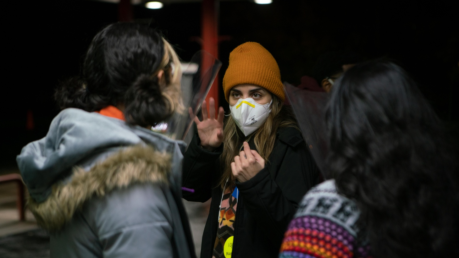 """Natalie Morales directs Victoria Moroles and Kuhoo Verma on the set of """"Plan B."""""""