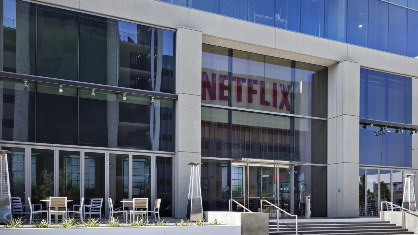 The Netflix headquarters in Los Angeles. Co-CEO Ted Sarandos says he sees his company as a Hollywood outsider, but it just landed 35 Oscar nominations.