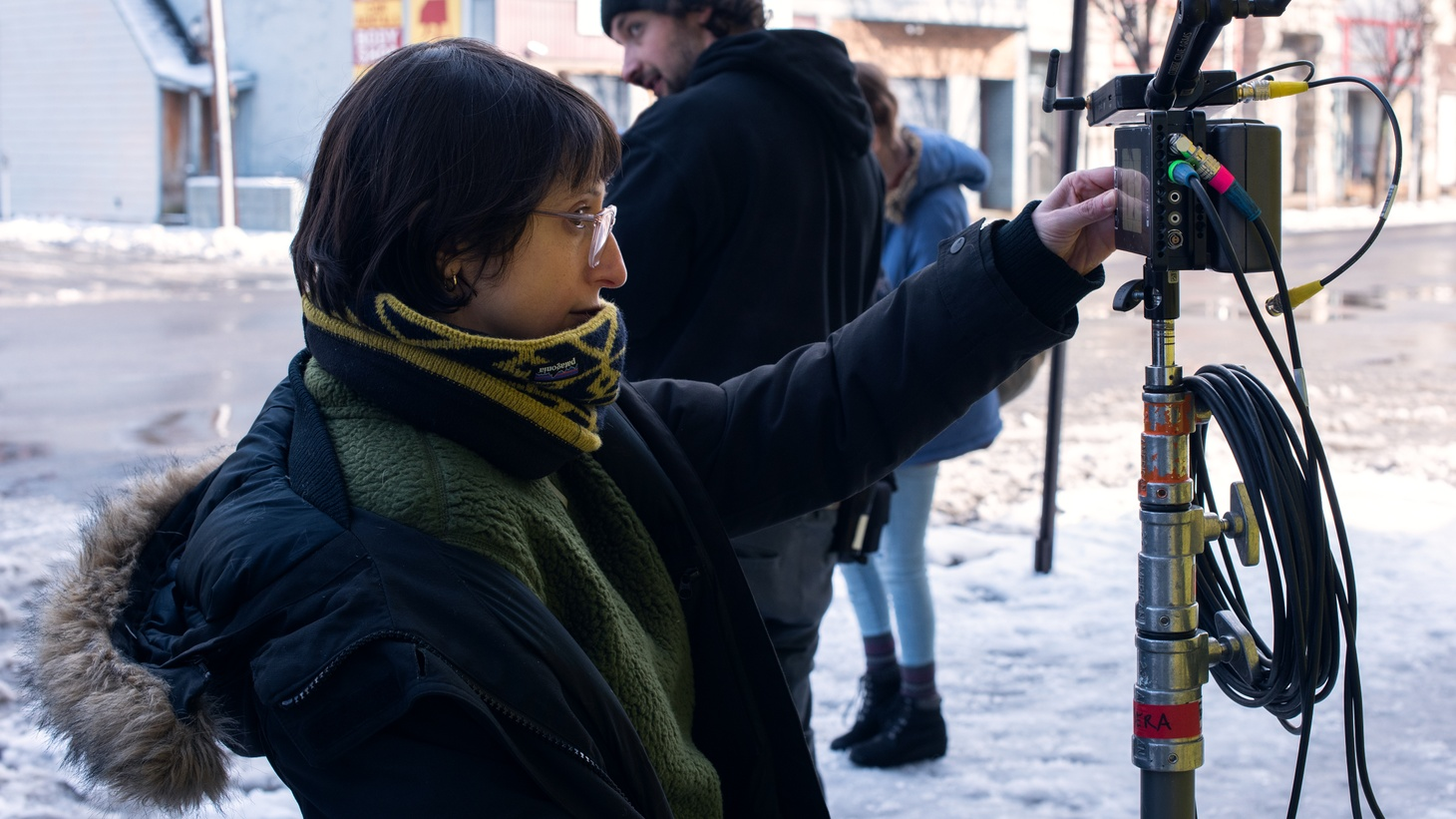 """Director Eliza Hittman on the set of """"Never Rarely Sometimes Always."""""""