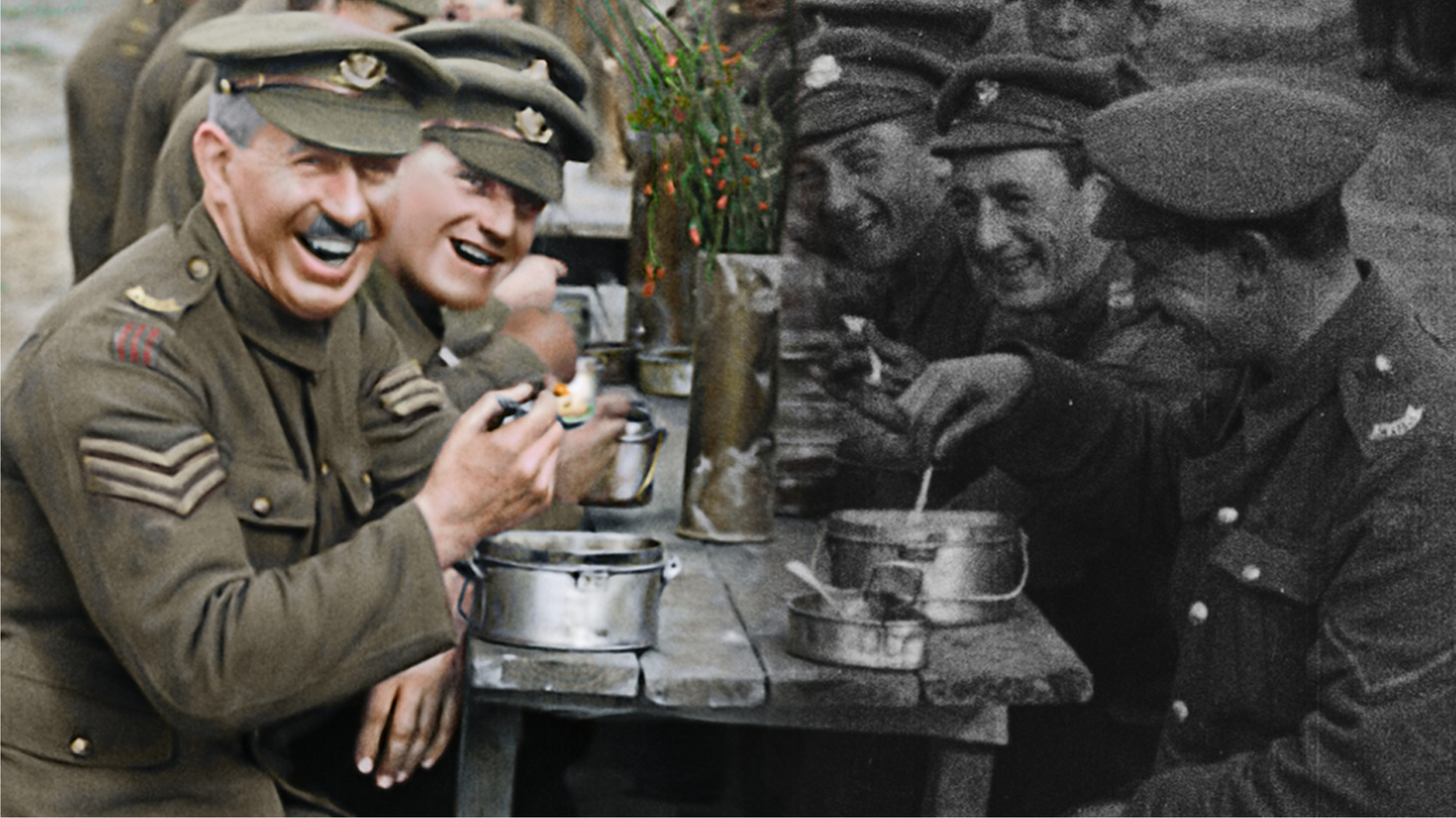 "A before and after image showing the original film on the right and the restored and colorized image on the left in a moment from Peter Jackson's WWI documentary ""They Shall Not Grow Old."""