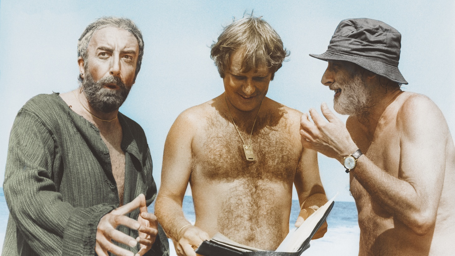 """Peter Sellers, Peter Medak, and Spike Milligan on the set of """"Ghost in the Noonday Sun."""" Medak's new documentary, """"The Ghost of Peter Sellers,"""" breaks down what went wrong with the pirate comedy."""