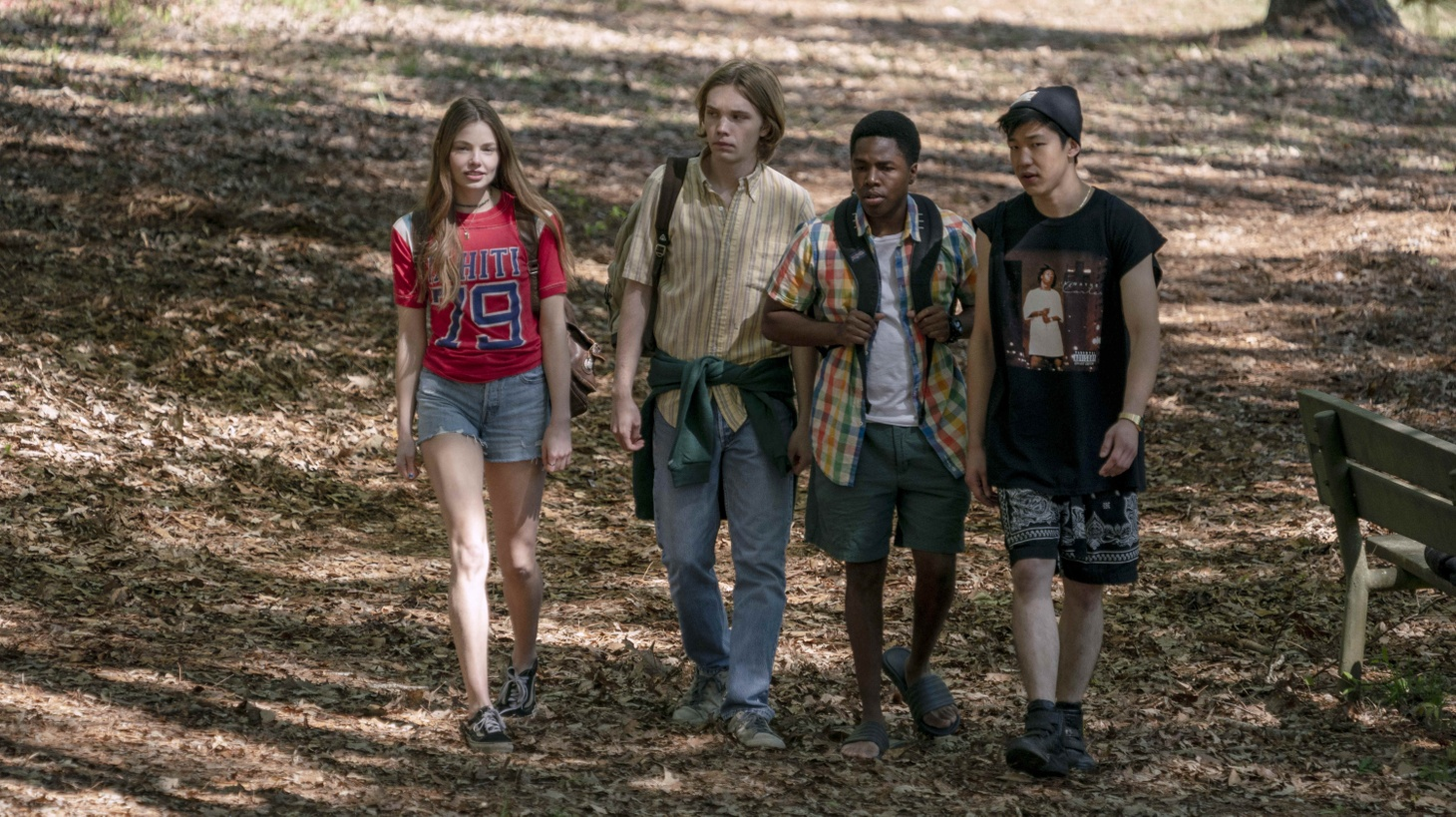 Alaska (Kristine Froseth), Miles (Charlie Plummer), The Colonel (Denny Love), and Takumi (Jay Lee), in 'Looking for Alaska'.