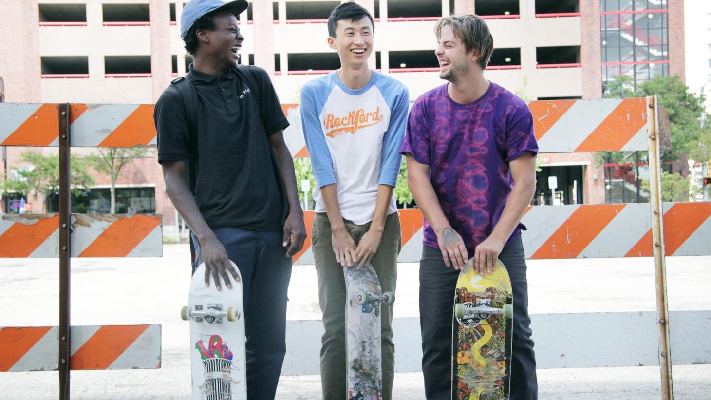 Keire Johnson, Bing Liu, and Zack Mulligan in a still from Bing Liu's MINDING THE GAP.
