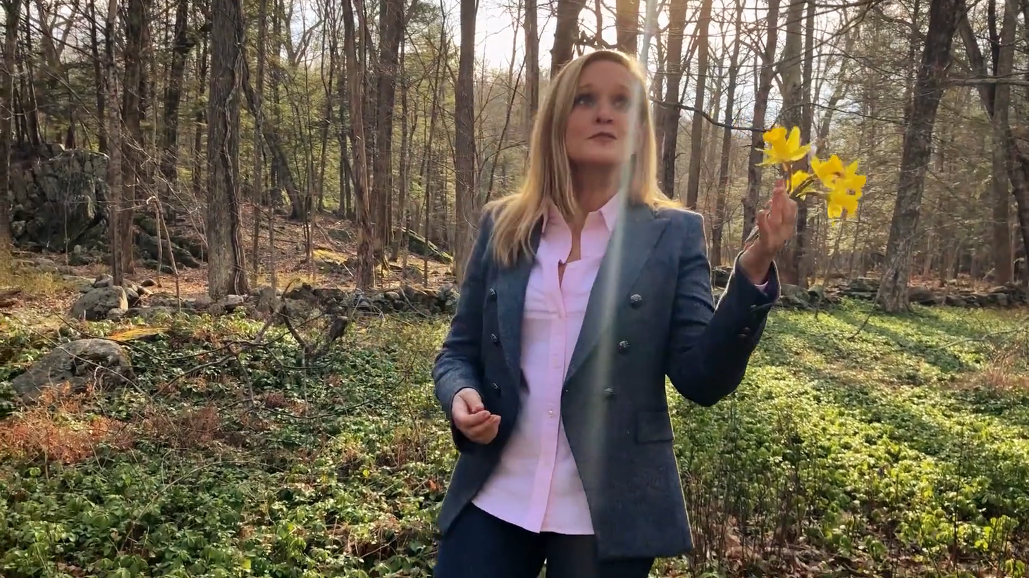 "Samantha Bee is now hosting her late-night show ""Full Frontal"" from the woods outside her house."