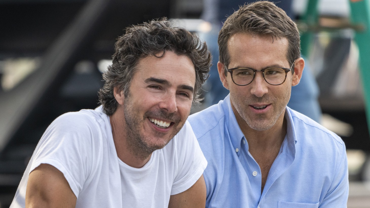 """Director Shawn Levy and actor Ryan Reynolds behind the scenes of """"Free Guy."""""""