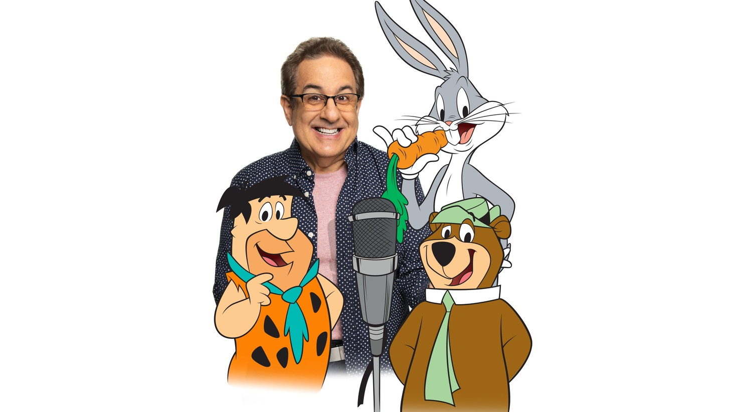 Voice actor Jeff Bergman with a few of his alter egos: Fred Flintstone, Bugs Bunny and Yogi Bear.