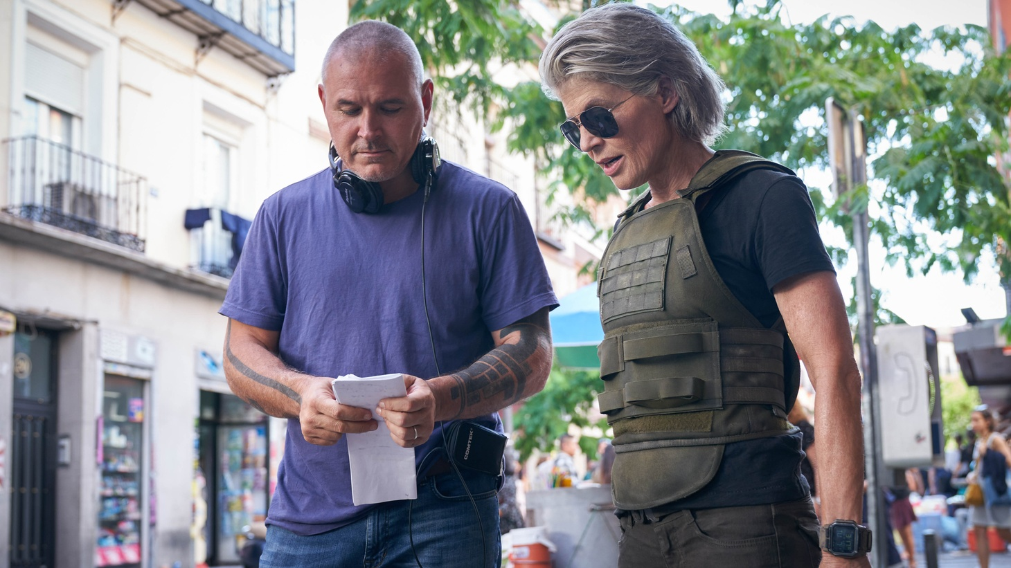Director Tim Miller and Linda Hamilton and on the set of 'Terminator: Dark Fate.'