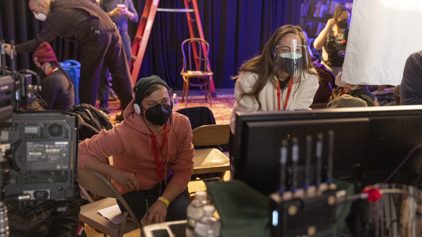 """Co-creators Chris Kelly and Sarah Schneider on the set of """"The Other Two."""" Season two of the series, which makes fun of celebrity culture, debuted on HBO Max."""