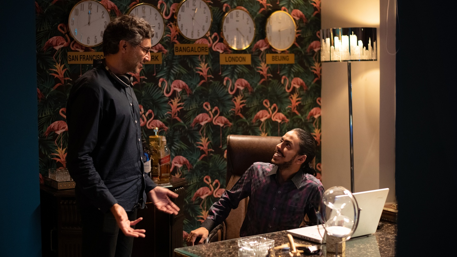 """Director Ramin Bahrani and actor Adarsh Gourav on the set of """"The White Tiger."""" The new film is based on the novel of the same name by Bahrani's long-time friend, Aravind Adiga."""