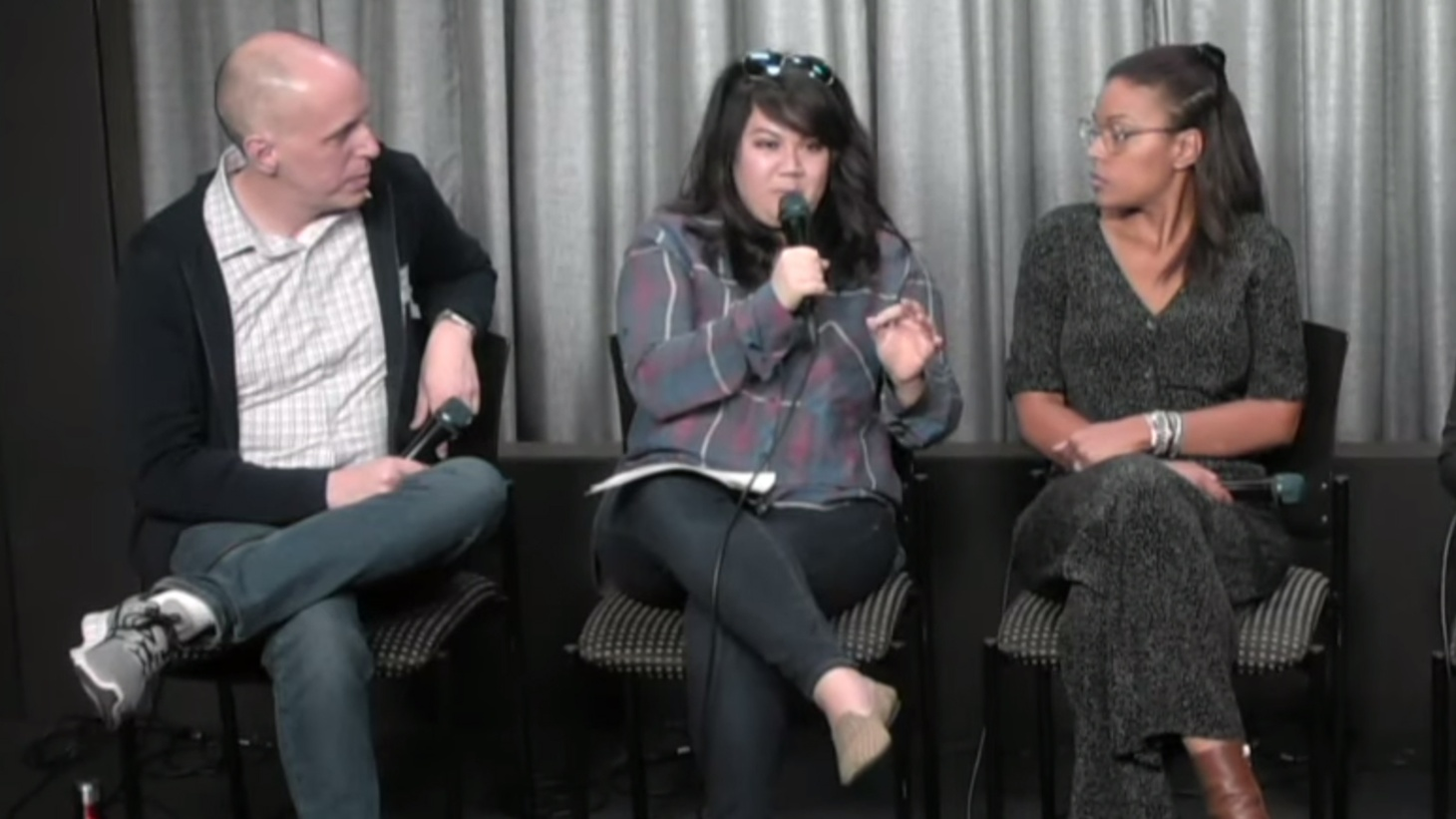 Writer and creator of #PayUpHollywood, Liz Alper, center, speaking at a recent town hall for Hollywood assistants.