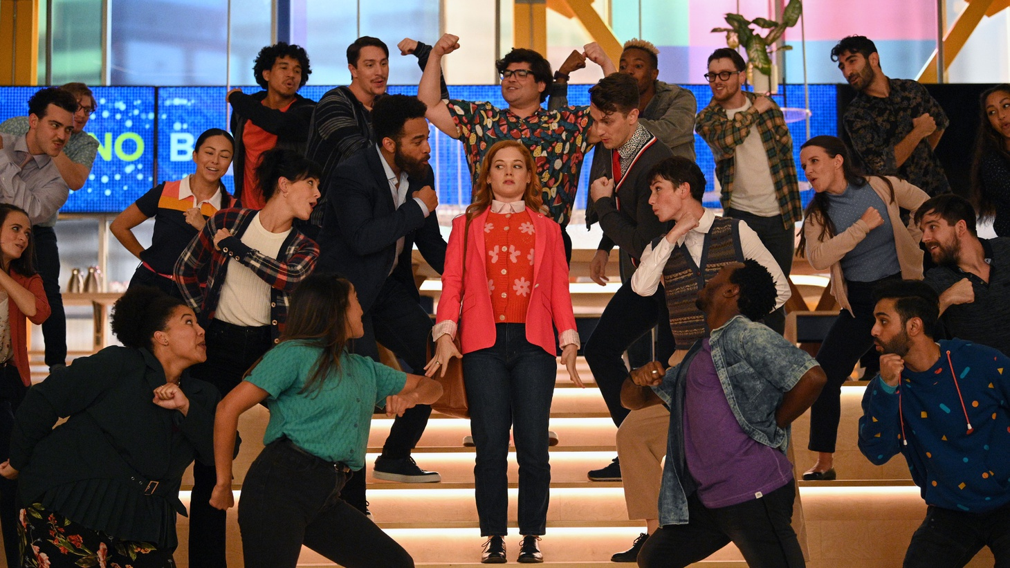 """Jane Levy (center) as Zoey in the season two premiere of """"Zoey's Extraordinary Playlist."""""""