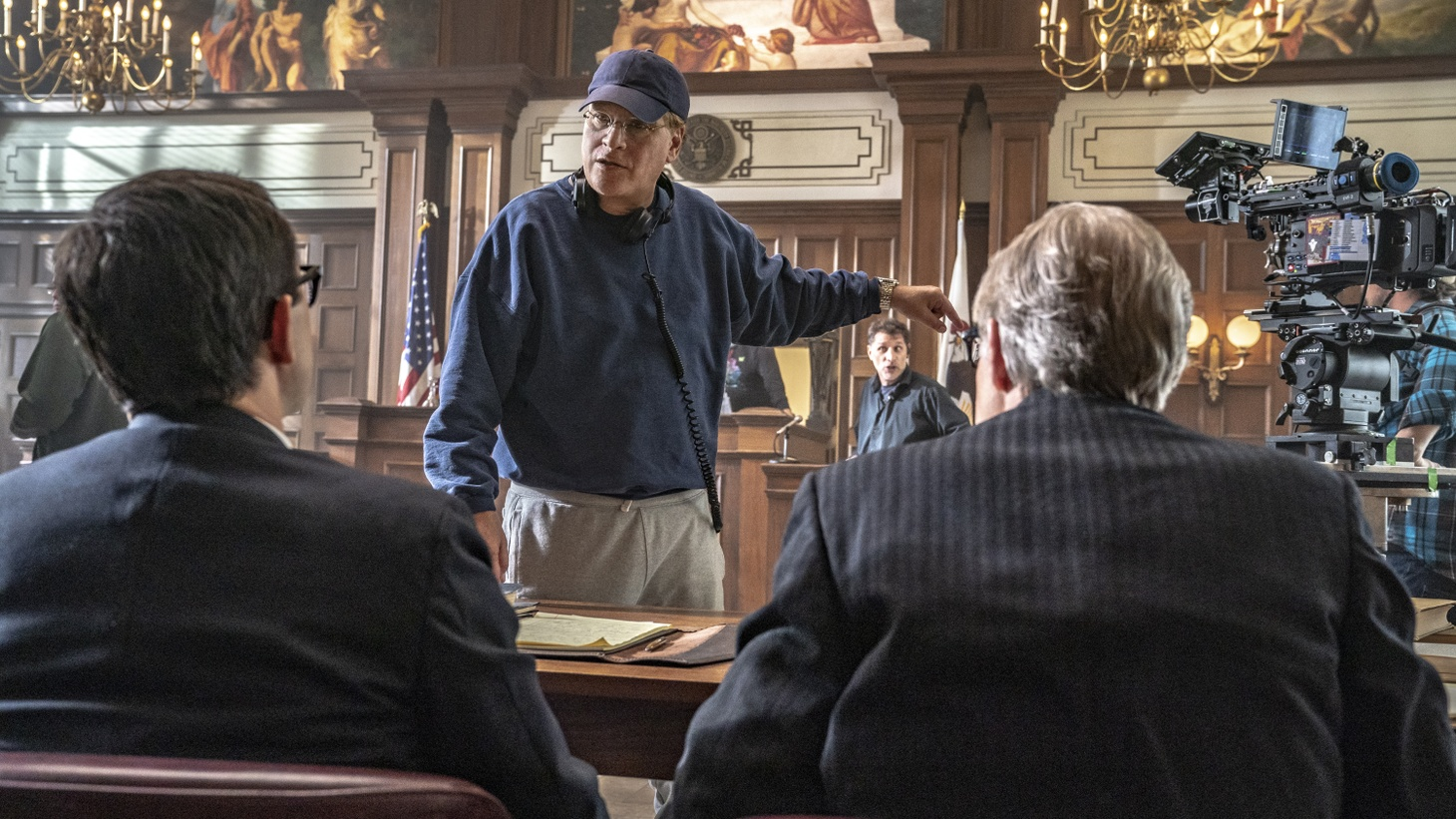 Director, Aaron Sorkin behind the scenes in 'The Trial of the Chicago 7.'