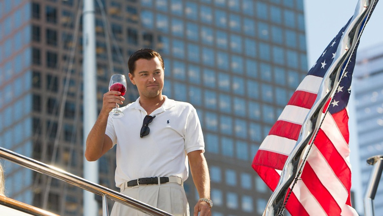 Following Django Unchained and The Great Gatsby, actor Leonardo DiCaprio continues to explore the corruption of the American Dream in The Wolf of Wall Street. (Repeat)