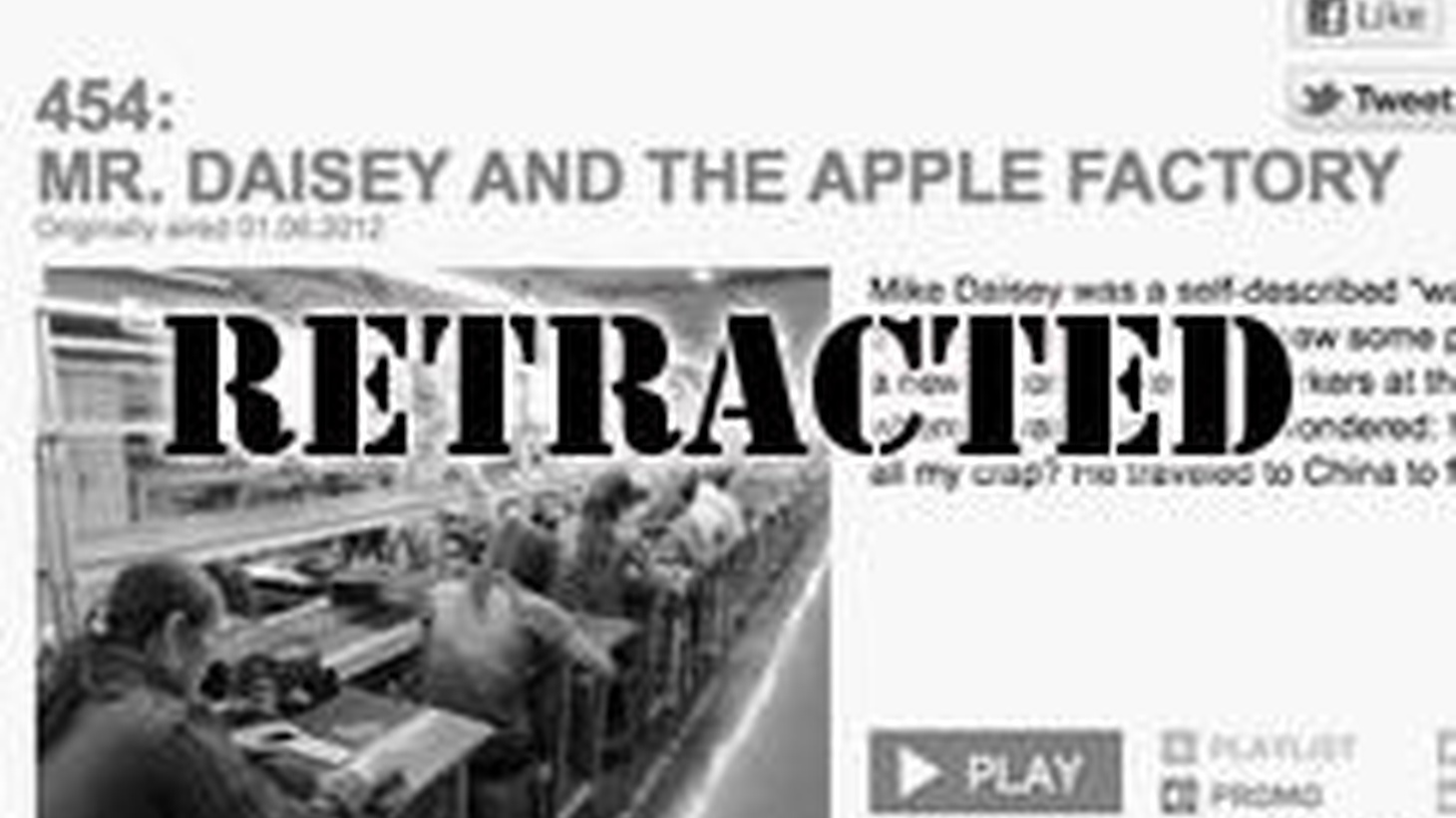 We've discovered that one of our most popular episodes was partially fabricated. We devote the entire hour to detailing the errors in 'Mr. Daisey Goes to the Apple Factory.