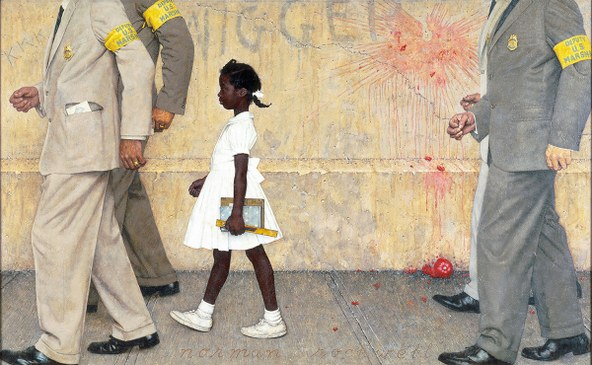 norman rockwell the problem we all live with Illustration for look, january 14, 1964 rockwell's first assignment for look magazine was an illustration of a six-year-old african-american schoolgir.
