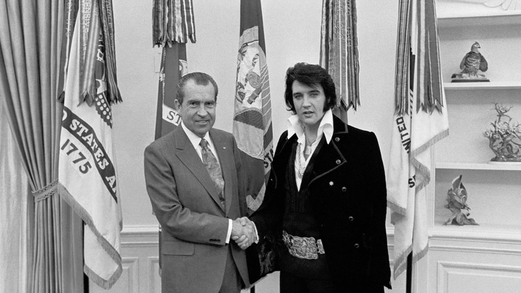 """Stories about unexpected holiday guests: """"The King"""" pays a surprise visit to the Nixon White House, and a reluctant Mormon meets an un-earthly visitor..."""