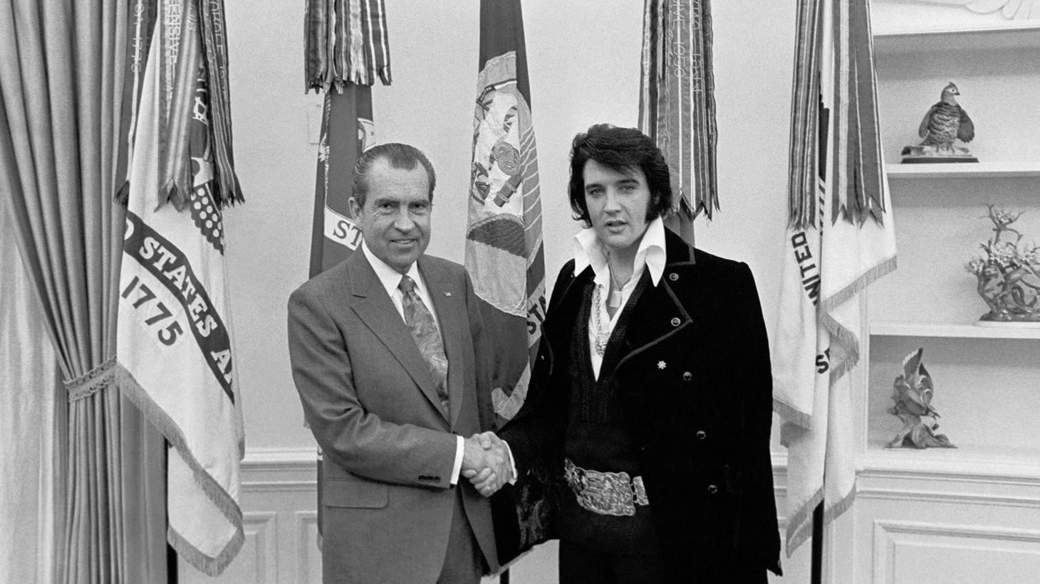 "Stories about unexpected holiday guests: ""The King"" pays a surprise visit to the Nixon White House, and a reluctant Mormon meets an un-earthly visitor..."
