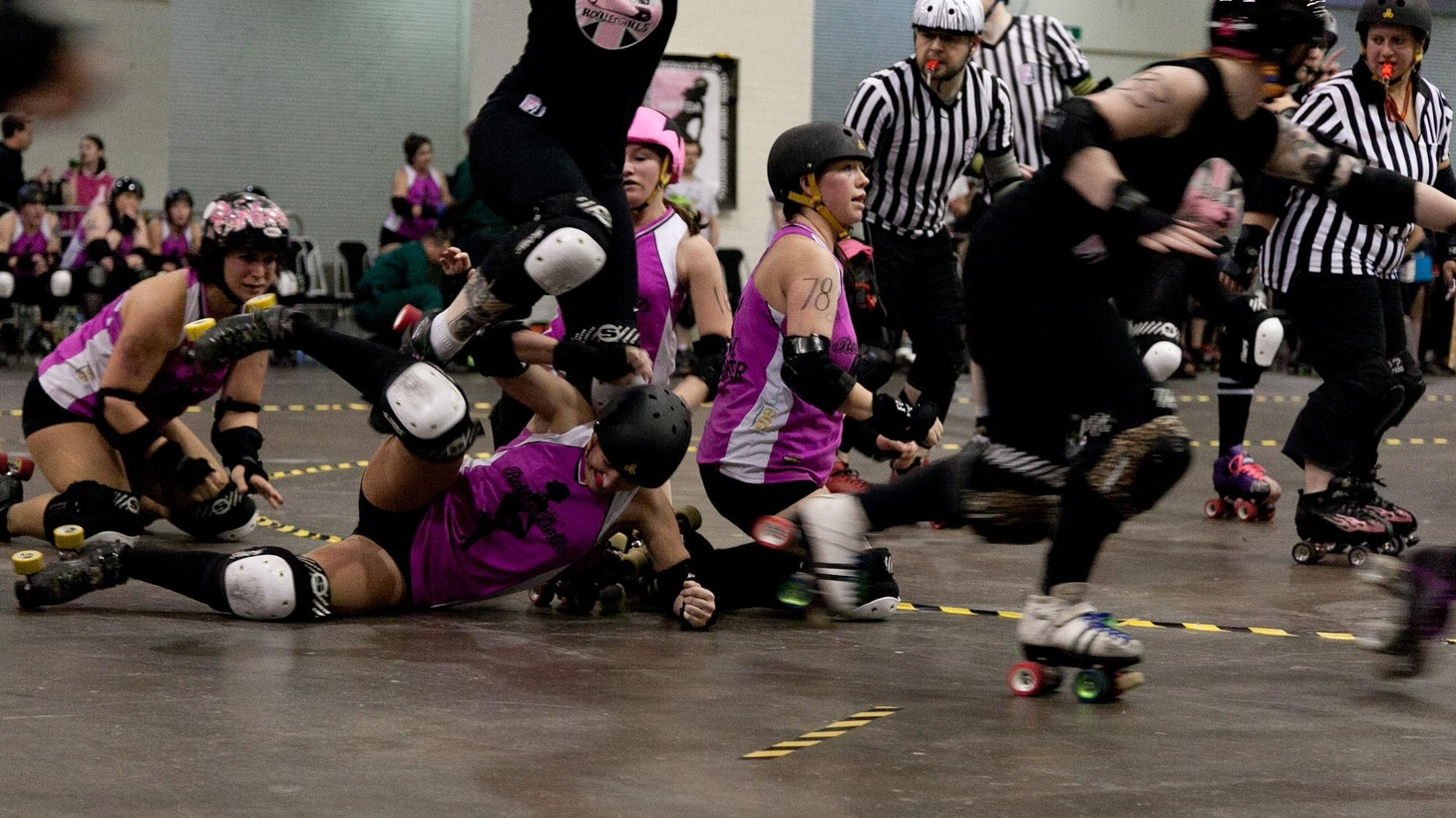 Rocking and rolling and slamming and jamming with the ladies of the London Roller Girls.