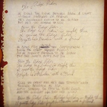 Hand written lyrics given to Tommy by Judee.