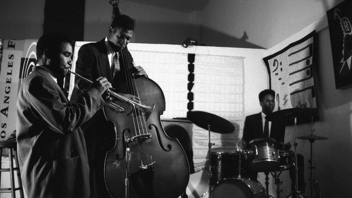 """Jazz ensemble """"Black Note"""" performing at The World Stage. Pictured: Richard Grant (trumpet), Marcus Shelby (bass), Willie Jones III (drums)."""