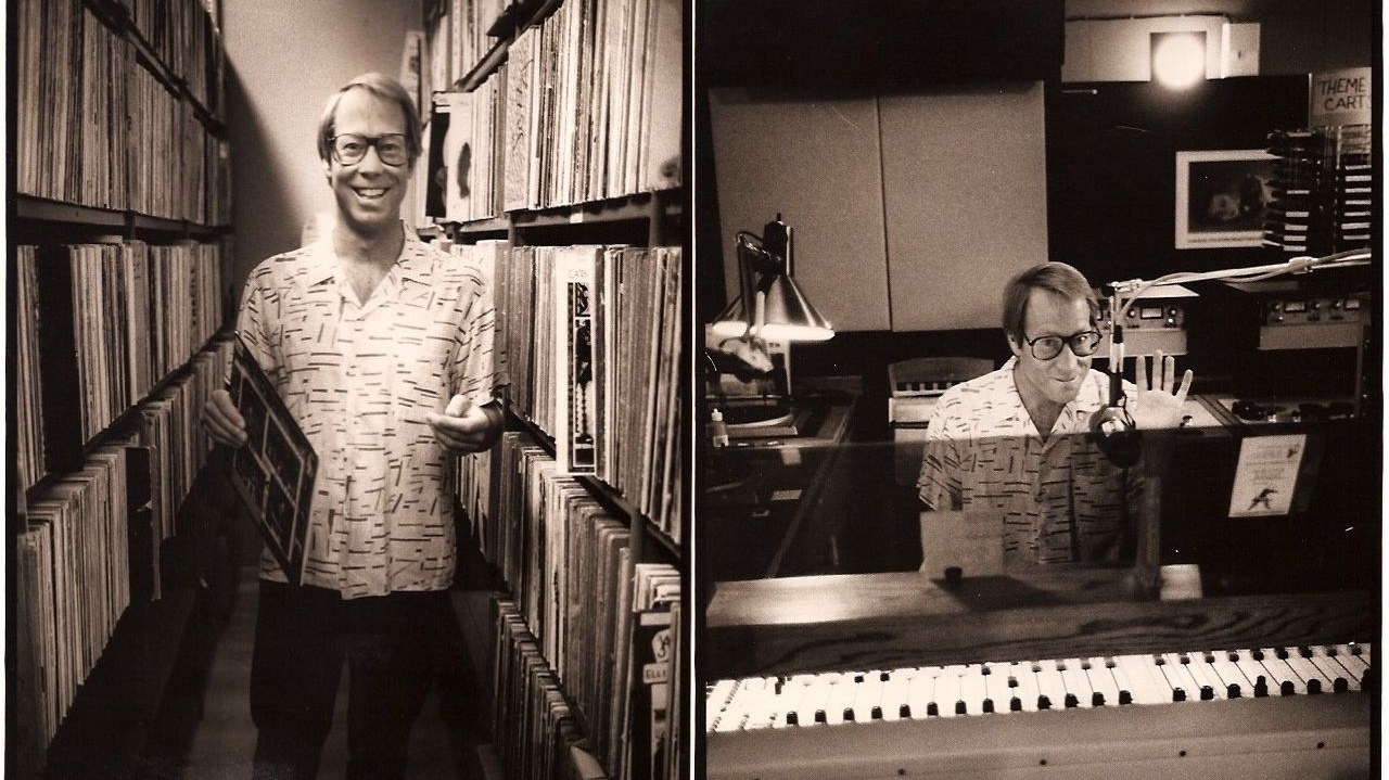 Tom Schnabel in the KCRW library and studio circa mid-80's