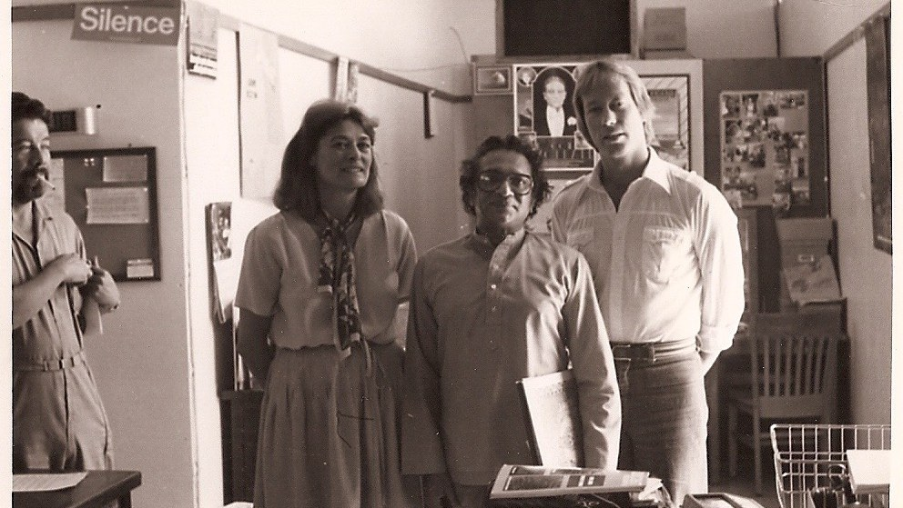 Tom Schnabel's first interview as MBE host in 1979 was with Ravi Shankar (middle), pictured here with former general manager Ruth Seymour (left) and Tom (right)