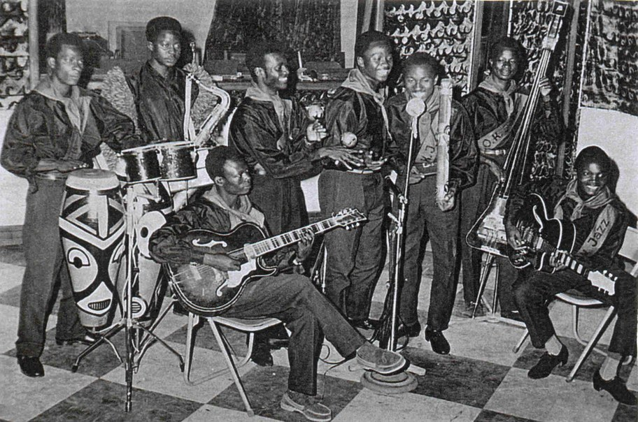 "Franco (right, seated with guitar) with ""OK Jazz"" in the mid 1950s (Photo courtesy of Sterns Music)"