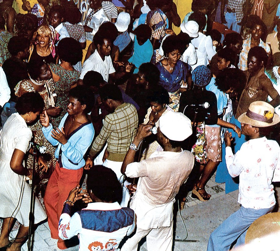 Crowd dancing to Franco's T.P.O.K. Jazz at Un Deux Trois club, Kinshasa, in the late 70's (Photo courtesy of Sterns Music)