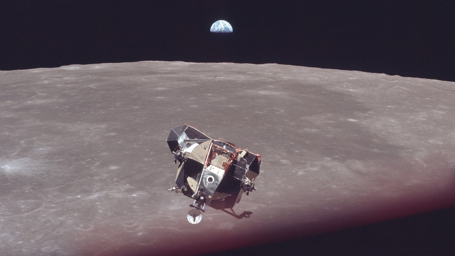 The Apollo 11 lunar lander Eagle returning to the Columbia command module for the journey back to Earth.