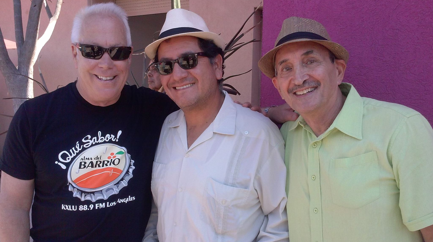 Tom Schnabel at left with radio journalist Betto Arcos and Alan Geik, who co-hosted KCRW's long-running tropical Latin show, Latin Dimensions