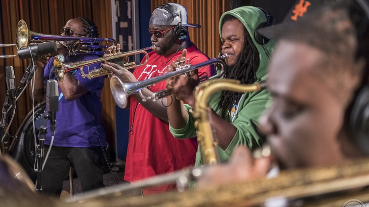 The Hot 8 Brass Band literally shook KCRW's walls, with their signature style of heavy New Orleans jazz hip-hop funk, during their MBE performance. Revisit this feel-good session.