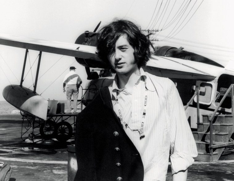 Jimmy Page arriving by sea plane