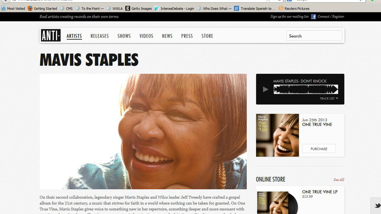 Rock and Roll Hall of Fame inductee and first lady of joyous song, Mavis Staples, sits down with Jason Bentley to chat...