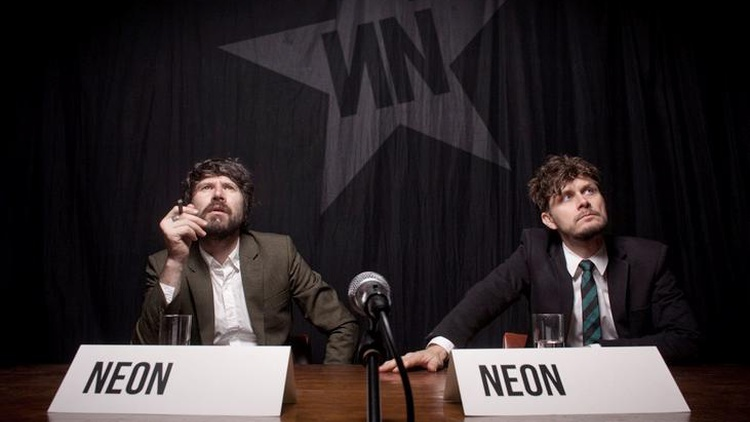 Producer Boom Bip and Super Furry Animals frontman Gruff Rhys join forces for the synth-pop project Neon Neon during their US radio debut.