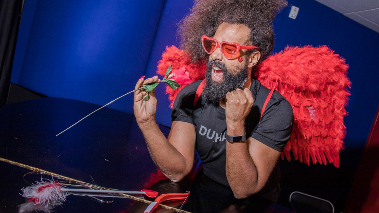 Eccentric, hilarious and endlessly creative, Reggie Watts is truly one of a kind. We called on the comedian/musician/beatboxer/bandleader to give us some lessons on love for our Valentine's Day special. (10am)