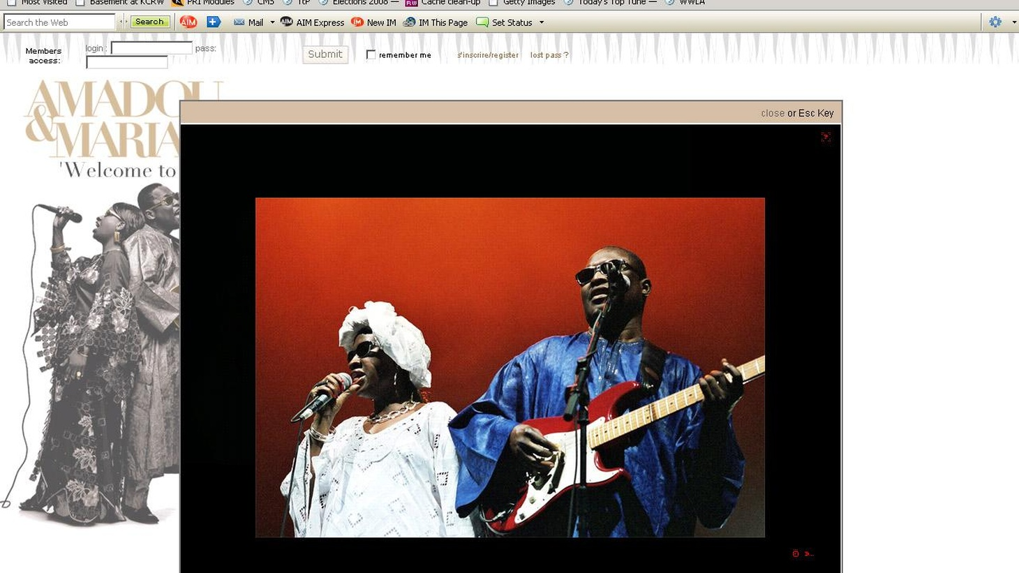 Amadou & Mariam are a blind husband and wife duo from Mali. Today's Top Tune is a rare treat that is not available on CD..